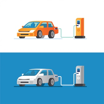 Electric car charging its battery with natural landscape, concept illustration for green environment, ecology, sustainability, clean air, future. illustration in flat style.