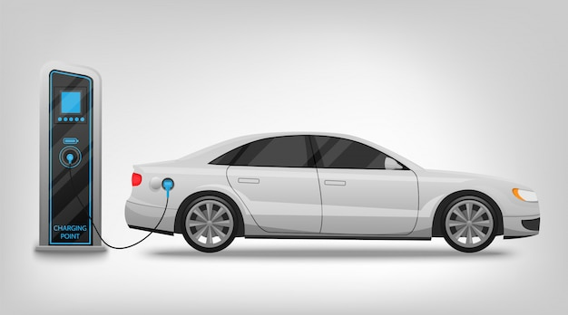 Electric car charging station and banner isolated on white