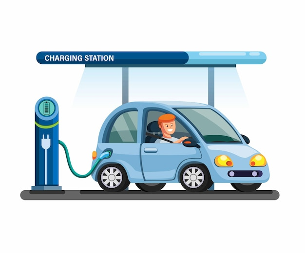 Electric car charging station building illustration concept in flat cartoon