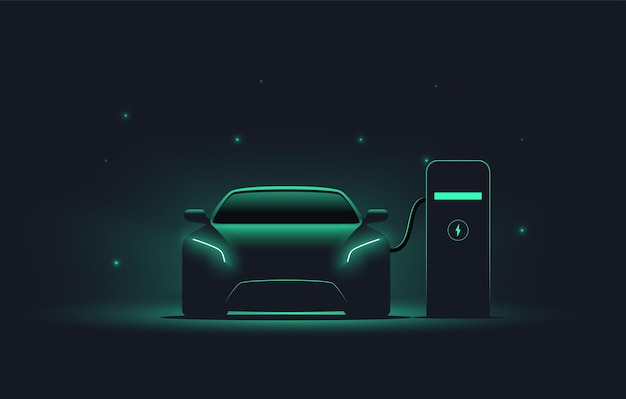 Electric car at charging station front view electric car silhouette with green glowing on dark background ev concept
