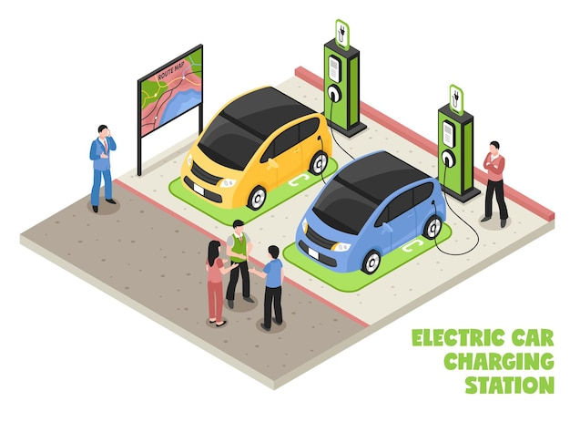 Electric car charging station isometric composition with employee and clients waiting for their cars be serviced