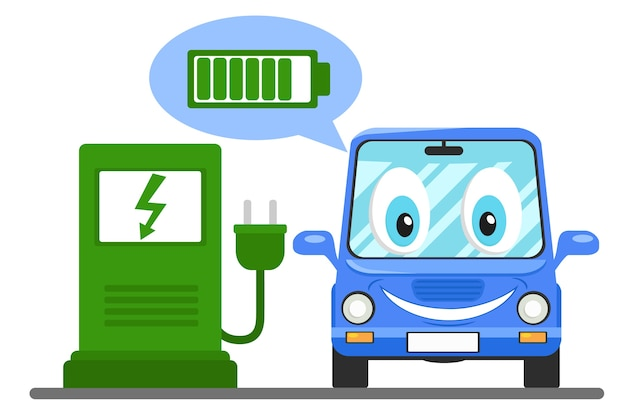 The electric car at the charging station, smiling and showing the charged battery.