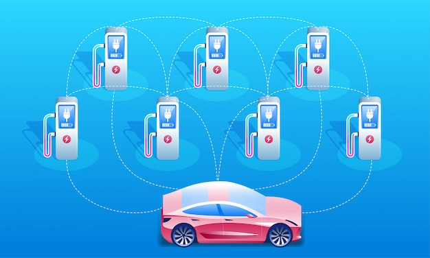 Electric car and charging stations network.