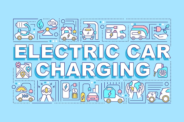 전기 자동차 충전 단어 개념 배너입니다.