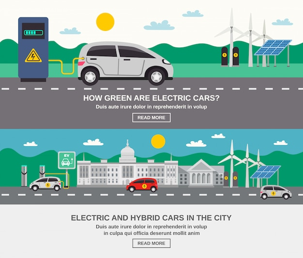 Electric car city 2 flat banners