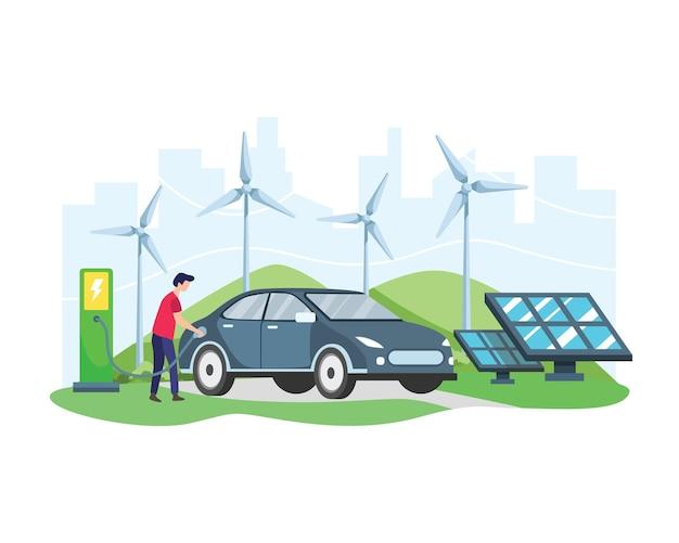 Концепция электромобиля. человек заряжает электромобиль на зарядной станции перед ветряной турбиной и солнечной панелью. зеленый автомобиль, экологически чистый транспорт. в плоском стиле