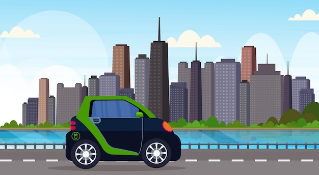 Electric car driving highway road eco friendly vehicle clean transport environment care concept modern cityscape background horizontal