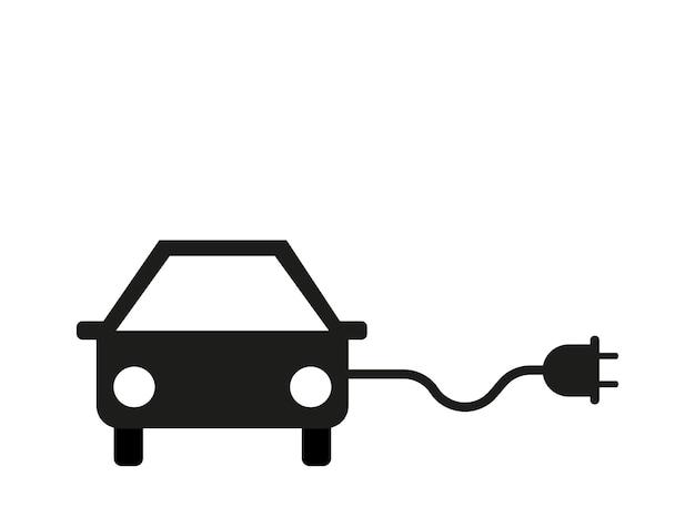 Значок электромобиля зарядка автомобиля электричеством векторная графика