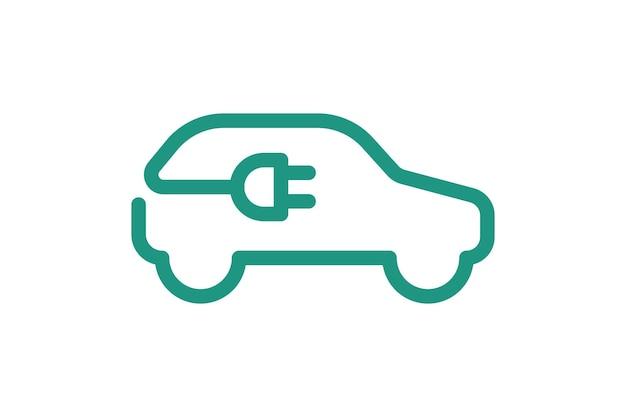 Значок электромобиля электрический кабель вилка зарядки зеленый символ экологически чистый электромобиль
