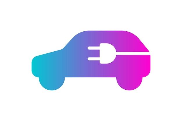 Значок электромобиля электрическая вилка в автомобиле силуэт градиент символ экологически чистый электрический