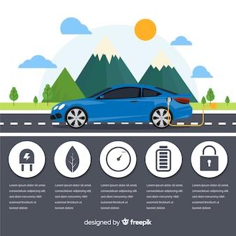Электрический автомобиль инфографики