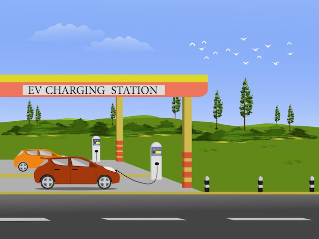 An electric car is charging a battery at an electric charging station with green fields and sky in the background.