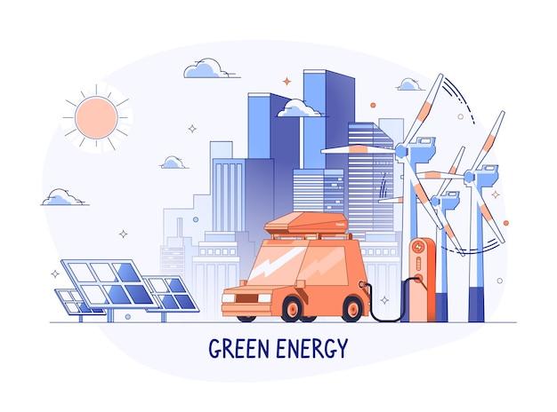 충전소에 전기 자동차입니다. 태양 전지 패널과 풍력 터빈이 있는 도시 풍경. 에코 하우스, 에너지 효율적인 하우스, 그린 에너지 개념 배너 디자인. 평면 스타일 벡터 일러스트 레이 션.