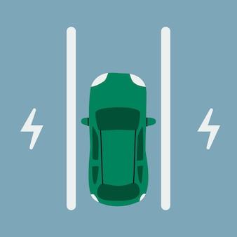 電気自動車の駐車場。充電用駐車スペースの乗用車、上面図。