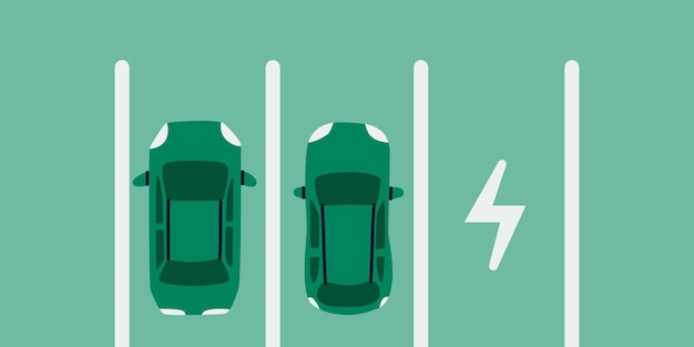 電気自動車駐車場上面を充電するための駐車場に2台のエコカー