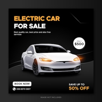 Electric car sale promotion social media post template