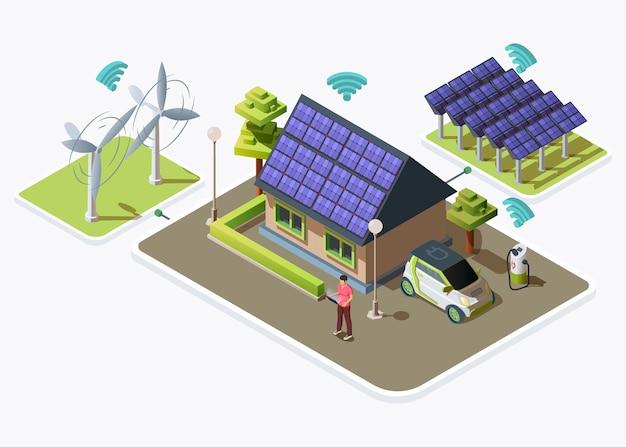 電気自動車、風力タービンやソーラーパネルによって生成される代替エネルギー源に接続されたスマートハウス。スマートグリッドのコンセプトデザイン。白い背景で隔離の平らな等角図