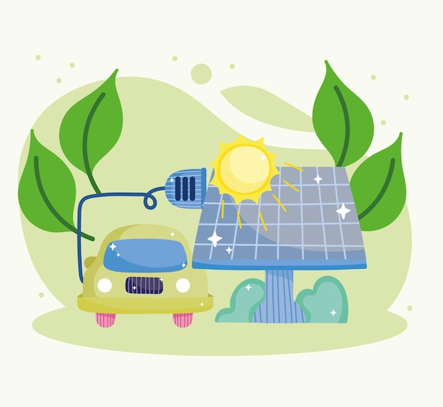 Electric car and solar panel