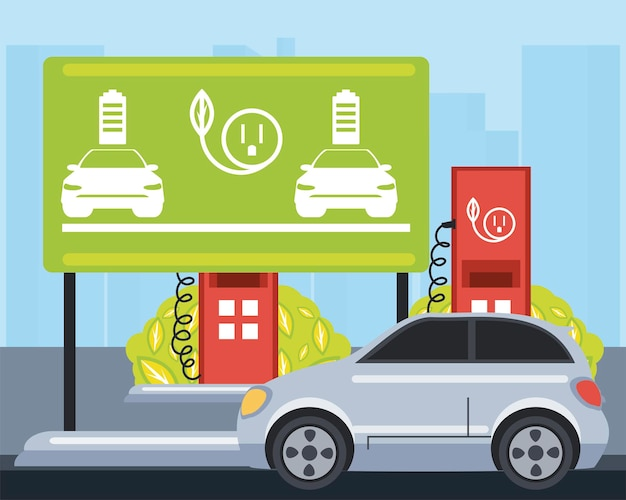 Electric car traffic sign board charge station zone  illustration