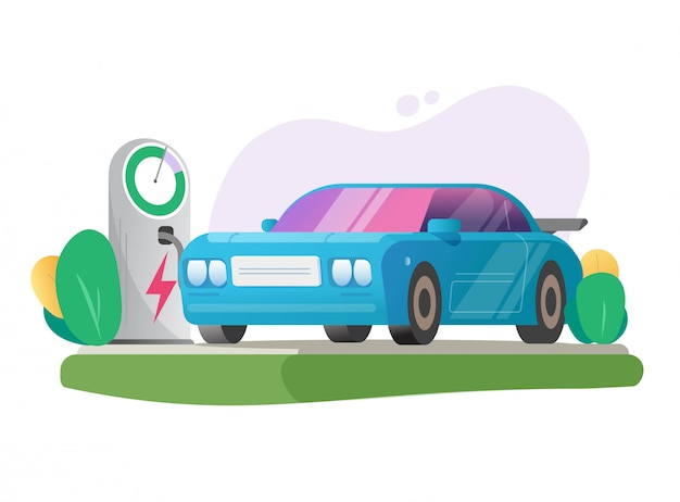 Electric car vehicle charging station vector