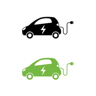 Electric car with electrical charging cable icon