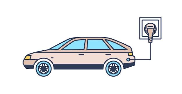 충전소에서 충전하는 플러그가 있는 전기 자동차. 녹색 또는 환경 친화적 인 차량, 지속 가능한 혁신 기술, 하이테크 혁신. 선형 스타일의 현대 벡터 일러스트 레이 션.