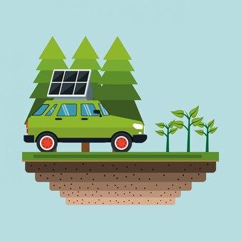 太陽電池パネル付きの電気自動車