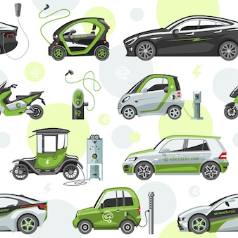 Electric  car with solar panels eco electro transport illustration automobile socket electrical car battery charger seamless pattern background