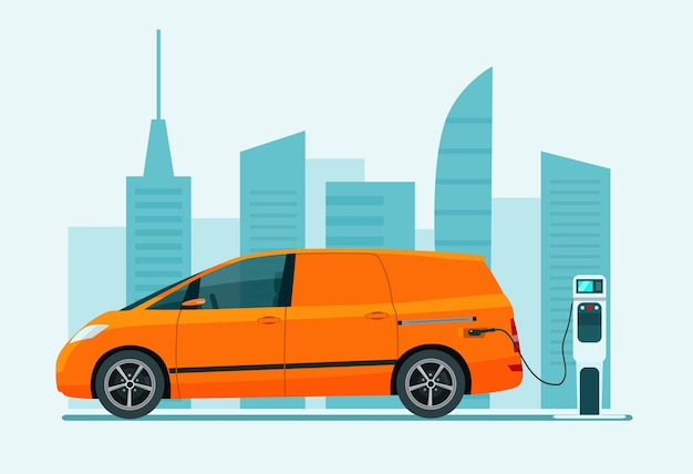 Electric cargo van car on a background of abstract cityscape. vector illustration.