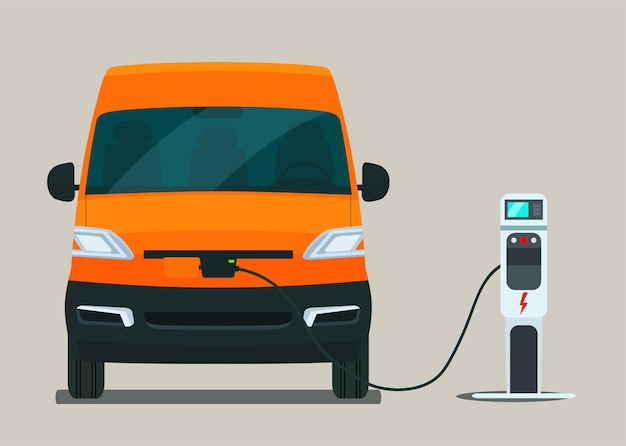 Electric cargo van charging from a charging station, front view. vector flat style illustration.