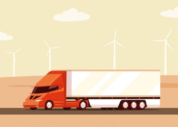 景観および風力タービンの電気貨物バン。