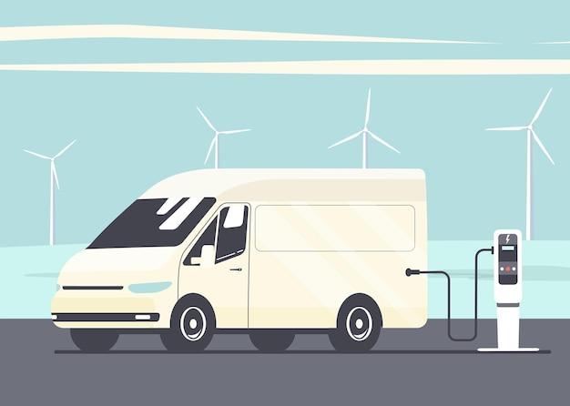 추상적인 풍경과 풍력 터빈의 배경에 있는 전기 화물 밴. 벡터 평면 스타일 그림입니다.