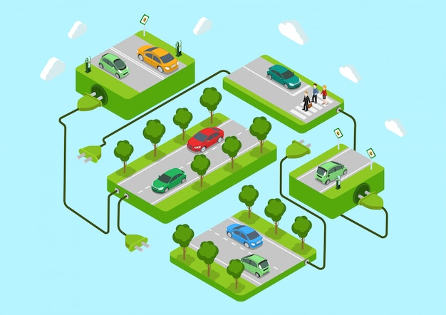 Electric cars alternative eco green energy lifestyle concept isometric   illustration. road platforms charging stations connected power cord.