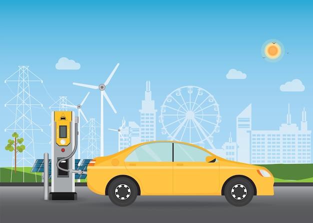 충전기 스테이션에서 충전하는 전기 자동차