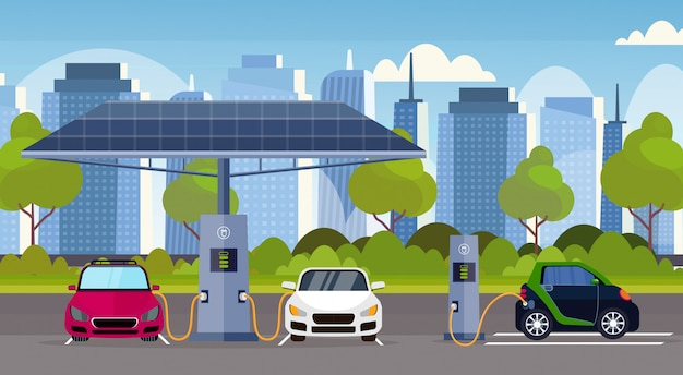 Electric cars charging on electrical charge station with solar panels renewable eco friendly transport environment care concept  modern cityscape background horizontal