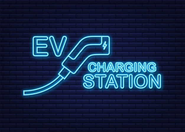 Electric cars charging on empty parking fast supercharger station and many free charger stalls