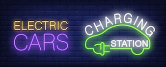 Electric cars charging station neon sign. Silhouette of green car with plug.