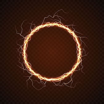 Electric circle with lightning effect.