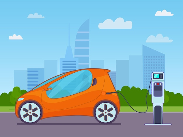 Electric compact car on a background of abstract cityscape. vector illustration.