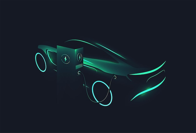 Electric concept car green glowing silhouette charging at charge station on dark background ev concept vector  illustration