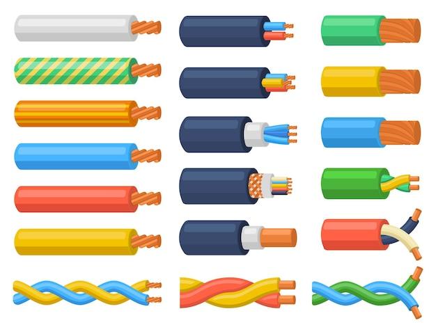 電気銅コア電源ワイヤーケーブル。電気ケーブルワイヤー、柔軟な電気機器ベクトルイラストセット。ハードウェア電気ケーブル