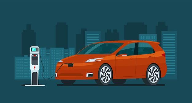 추상적인 도시에서 전기 cuv 자동차입니다. 전기차가 충전 중입니다. 벡터 평면 스타일 그림입니다.