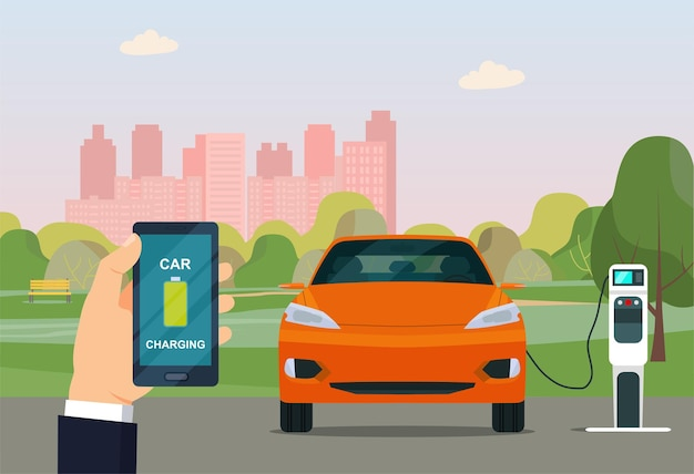 Electric cuv car is charging against the background of an abstract cityscape. vector illustration.