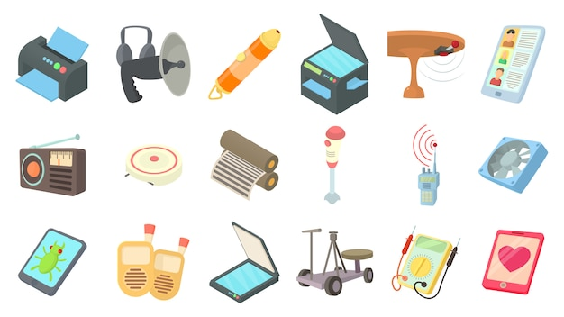 Electric device icon set