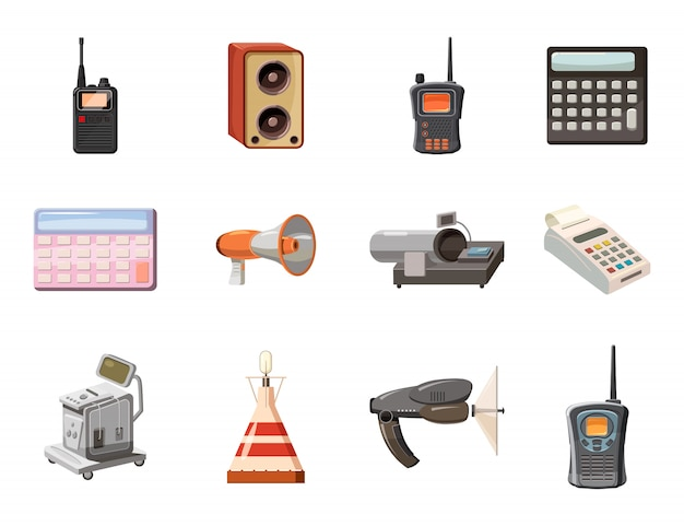Electric device objects set. cartoon set of electric device