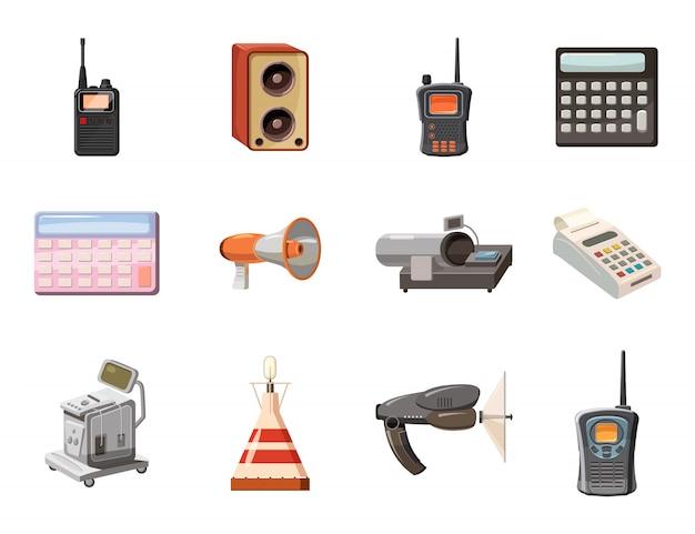 Набор объектов электрического устройства. мультяшный набор электроприборов