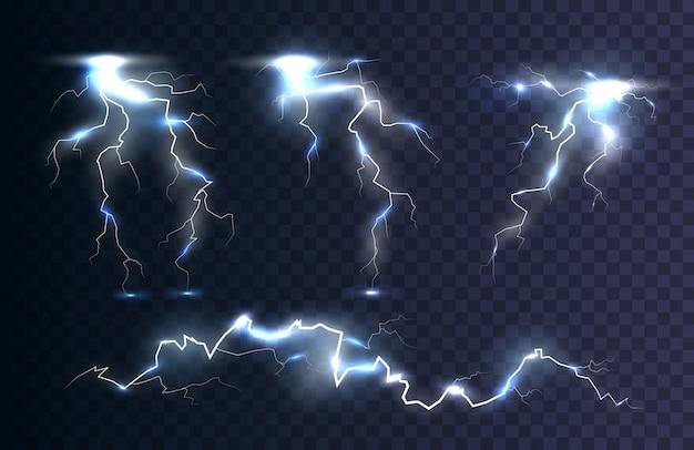 Электрический разряд молнии. в небе гром и гроза, эффект свечения и блеска.