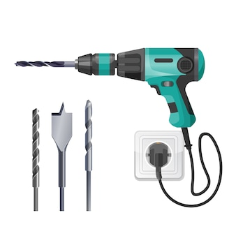 Electric drilling machine cord plugged into socket