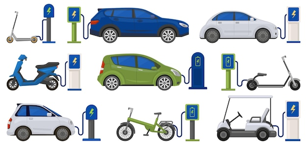 Electric eco friendly transport powered with charging station. renewable energy car, scooter, bicycle at charge station vector illustration set. charging electric vehicles