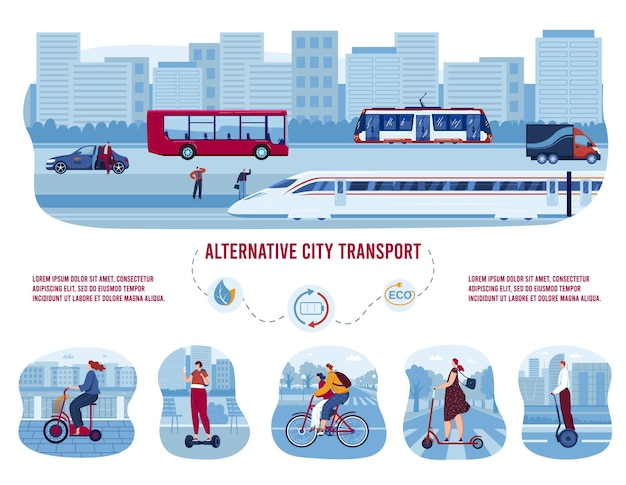 Electric eco transport, alternative city transportation set of  illustrations.